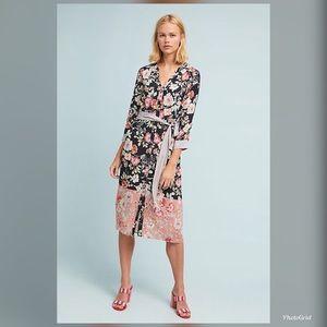 Anthropologie Kachel Melody Silk Shirtdress size 4